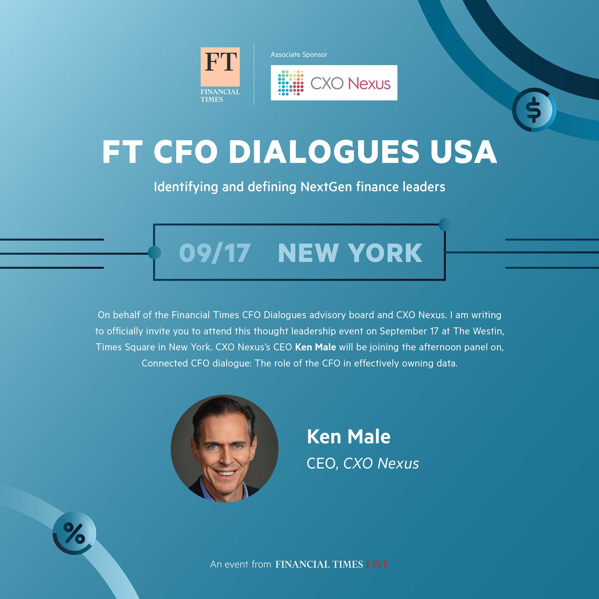 Financial Times CFO Dialogues Sept 17 NYC - Ken Male will be on the afternoon panel on, The Role of the CFO in effectively owning data.